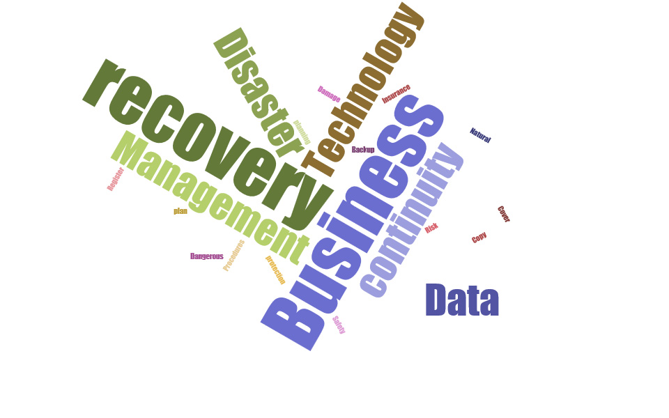 Disaster Recovery Plan Wordcloud image. Including words: recovery plan, business continuity, management, planning, business continuity, Business technology, Data protection, Data recovery Procedures, Management, Technology, Insurance Cover, Risk Register, Backup Copy, Dangerous, Damage, Safety, Natural Disaster,