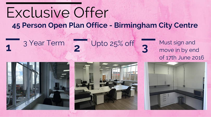 Exclusive Offer Image - 45 Person Open Plan Office Birmingham City Centre. 3 Year Term, 