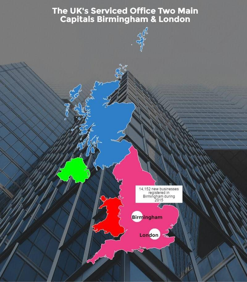 The UK's Serviced Office two main capitals - Birmingham & London